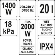 Picture of VACUUM CLEANER 1400W 20L WET